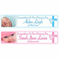 PERSONALISED CHRISTENING BANNERS WITH PHOTO LARGE
