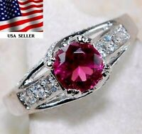 Flawless 2CT Ruby & White Topaz 925 Solid Sterling Silver Ring Jewelry Sz 8, PR1
