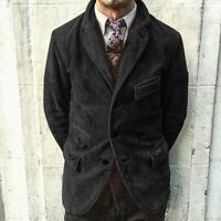 Black Men's Corduroy Suit Jacket Hunting Casual Three Button Suit Prom Blazer