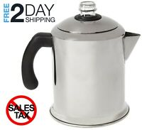 Coffee Percolator Pot Maker Brews 8-Cup Capacity Stainless Steel Filter Basket