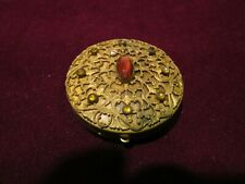 New listing Vintage Gold Tone Metal Compact, Faux Yellow and Orange Stones, Scrolls
