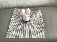 Ikea Leka Bunny Rabbit Grey and White Striped Baby Comforter Blankie Soft Toy