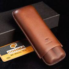 Brown Genuine Leather 2 ct Adjustable Cigar Case Travel Holder