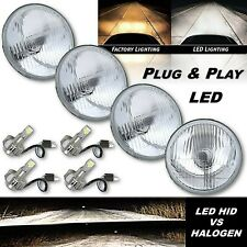"5-3/4"" Stock Glass Metal Headlight 18/24w 6k LED H4 Lamp Light Bulb Headlamp Set"