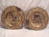 "2 Vintage Embossed Brass Wall Plate Made In England Dinner Social Scene 14.25"""