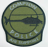 Compton Police Air Support Helicopter California Subdued OD Green Patch (A7)