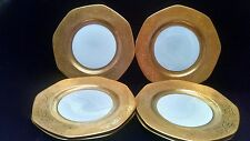 6 Vintage George Jones Crescent Gold Encrusted White Luncheon Plates 17789H