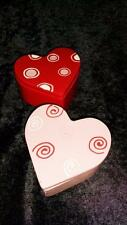 New set of 2 Ceramic Valentine Heart Covered Candy Dish Trinket Jewelry Box