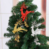 Reindeer Xmas Tree Hanging Ornament Party Christmas Decor Bauble Deer With Bells