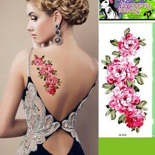 Removable Stickers Body Art Arm Temp Tattoos Waterproof--Pink Floral 4