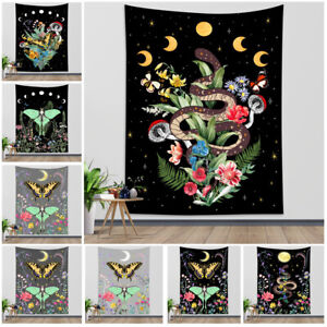 Psychedelic Tapestry Butterfly Flower Moth Snake Wall Hanging Bedspread Cover