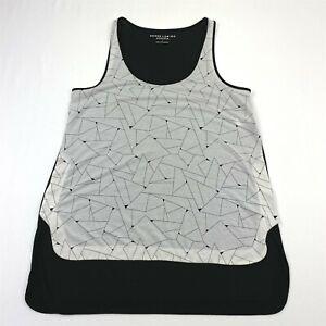 Athleta Derek Lam 10C Geometric Print Tank White Front Black Back Sz S