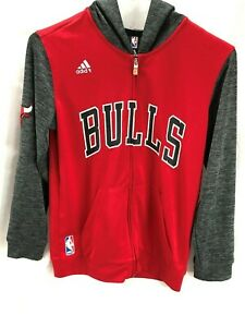 adidas Chicago Bulls NBA Basketball Hooded Jacket Full Zipper Youth M