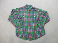 Ralph Lauren Polo Shirt Adult Extra Large Green Blue Plaid Long Sleeve Mens A33