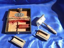 Antique Pre WW2 2 PC EVER READY Chromium SAFETY RAZOR w Hard Case Blade Carriers