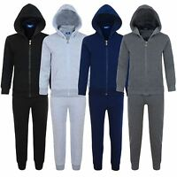 Kids 2-Piece Fleece Tracksuit Plain Jogging Bottoms Hooded Top Sizes 3-14 Years