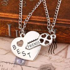 BF Best Friend Friendship Necklace Heart Key Set Silver Pendant Couple Necklace