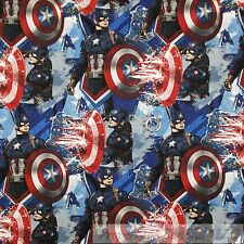 BonEful Fabric Cotton Quilt Super Hero Captain America Sheild Comic Boy US SCRAP