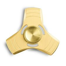 GOLD Tri Metal Fidget Hand Spinner High Speed Stress Anxiety Relief Toys 3 Spins