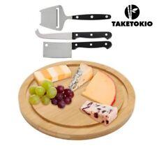 Madera de bambú Tabla de cortar lonchas de queso Placa Plato Bandeja para servir juego de cuchillo