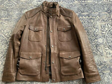Coach 83739 Men's Harrison Leather Jacket Large Brown Zip Insulated Coat