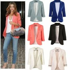 Trend Women Candy Fashion Casual Business Suit Cropped Sleeve Jacket Blazer