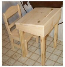 CHILD'S DESK AND CHAIR WITH STORAGE & FLIP TOP UNFINISHED PINE WOOD BOYS & GIRLS