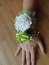 Wedding flowers wrist corsage white/lime green rose&button hole lime green rose