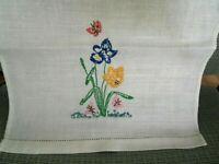 "Vintage Fingertip Hand Towel 19"" Hand Embroidered Tulip Hemstitch on White Linen"