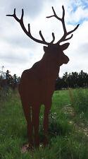 HIRSCH XXL 1,90m hoch auf Platte Reh Rost Edelrost Metall Tier Rostfigur
