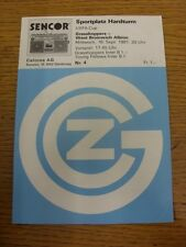 16/09/1981 Grasshoppers Zuirch v West Bromwich Albion [UEFA Cup] . Footy Progs/B