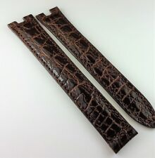 NOS must de CARTIER CROCODILE WATCH BAND 14MM BROWN WITH CENTER CUTS DEPLOYMENT