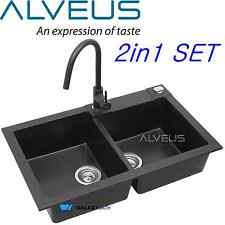 ALVEUS BLACK ONYX GRANITE 2.0 BOWL SQUARE KITCHEN SINK DRAINER WITH PULL OUT TAP
