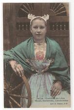 French Girl Costume du Leon Sizun Guimiliau Landivisau Bretagne France postcard