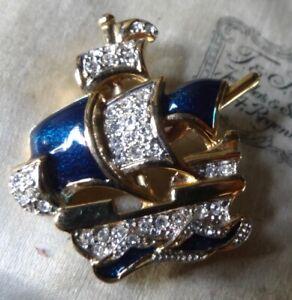 vintage clear rhinestone blue enamel boat ship boat gold tone brooch 1980s -KW17
