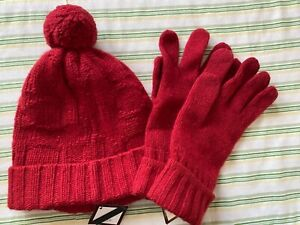 NWT~$96 Coach~2 Piece Set~Sculpted C Hat 80701 & Gloves 80703~Red~Wool Blend~NEW