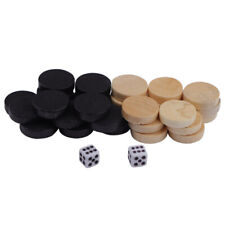 32PC Wooden Draughts Chess Backgammon Checkers Chips Pieces