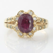 9ct Gold Ruby & Diamond Cluster Ring Size O Hallmarked