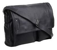 Greenburry Authentic Pullup UmhängetascheLeder Tasche Überschlagtasche schwarz