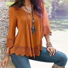 XL New Summer Casual Fashion Women Shirt Blouse Lace Loose Tops T-Shirt Clothing