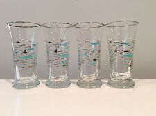 4 Atomic Fish Cordial Cocktail Glasses Libbey Mediterranean Pattern 1950s