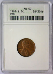 1909 S VDB Lincoln Cent Key Date Penny ~ Small ANACS AU50 AU 50