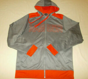 UNDER ARMOUR FULL ZIP GRAY PRINT HOODED SWEATSHIRT JACKET MENS SMALL EXCELLENT
