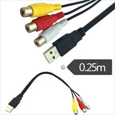 USB maschio a 3 RCA femmina adattatore cavo convertitore audio da USB a  lx