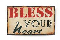 """Bless Your Heart"" Metal Antique Wisdom Decorative Sign Metal Wall Art"
