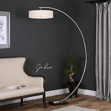 "MODERN 82"" CURVED METAL FLOOR LAMP BRUSHED NICKEL BLACK BASE LIGHT HANGING SHADE"