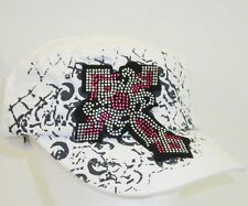 NEW White Pink Crystal  Distress Bling Rhinestone Cross Cadet Hat Women & Junior