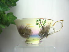 *RARE* Norcrest Hand Painted Numbered Fine China Scenic Lake Swan COFFEE TEA CUP