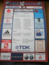 08/12/1998 Colour Teamsheet: Crystal Palace v Tranmere Rovers (Folded, Writing O
