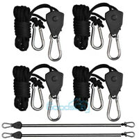 "LINEBA 4PACK Grow Light Rope Hanger Ratchet Reflector Hangers 300lb 1/8"""